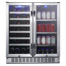 30 inch wide 28 bottle 86 can capacity dual zone wine cooler and beverage center - Dual Zone Wine Cooler