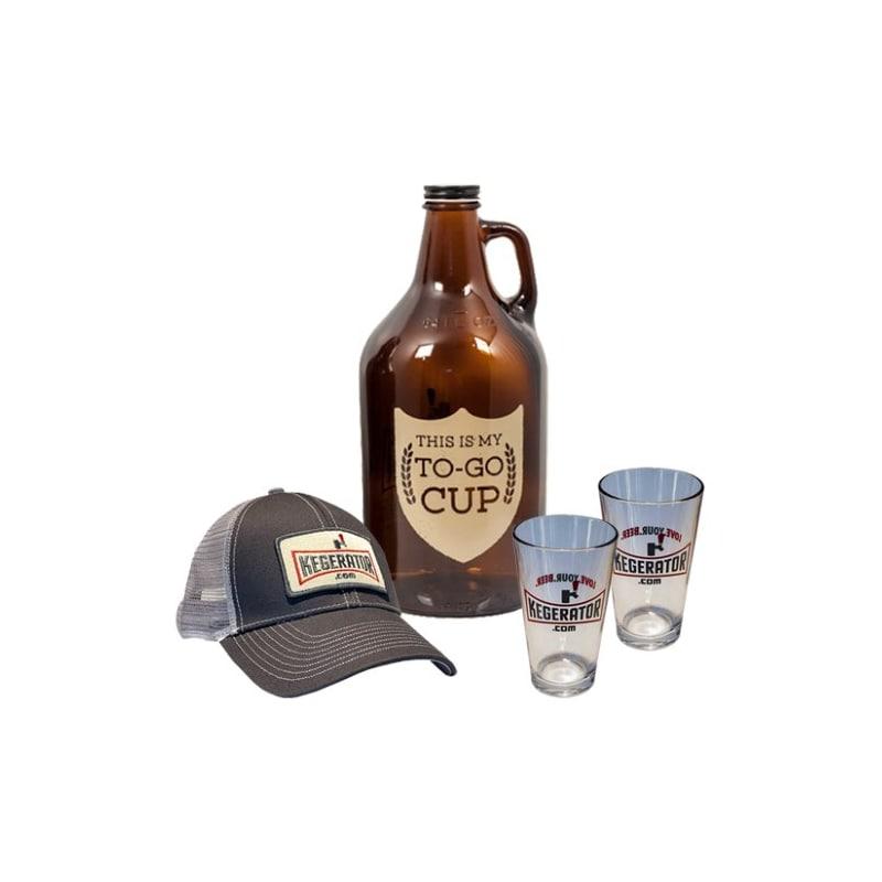 Kegerator.com KEGGIFTSET4 My To Go Cup Growler Hat Pint GlaGift Set
