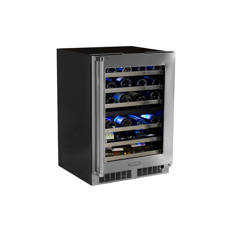 Marvel MP24WDG4L 40 Bottle 24 Built-In Pro Dual Zone Wine Cooler with Lock