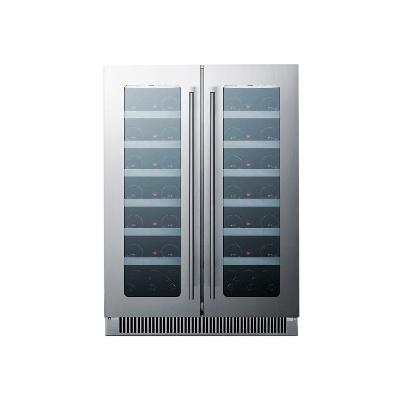 Summit CLFD24C 42 Bottle 24' Built-In Seamless Cabinet French Door Dual Zone Win