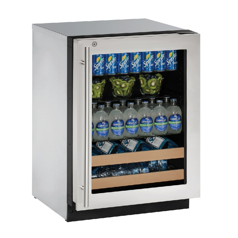 U-Line U-2224BEVS-15B 24 Built-In Wine and Beverage Center with Lock