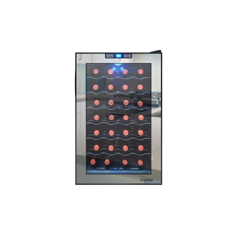 Vinotemp VT-28TSBM 28 Bottle Free Standing Mirrored Wine Cooler